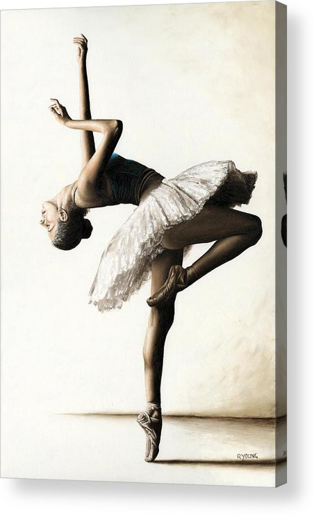 Dancer Acrylic Print featuring the painting Reaching For Perfect Grace by Richard Young