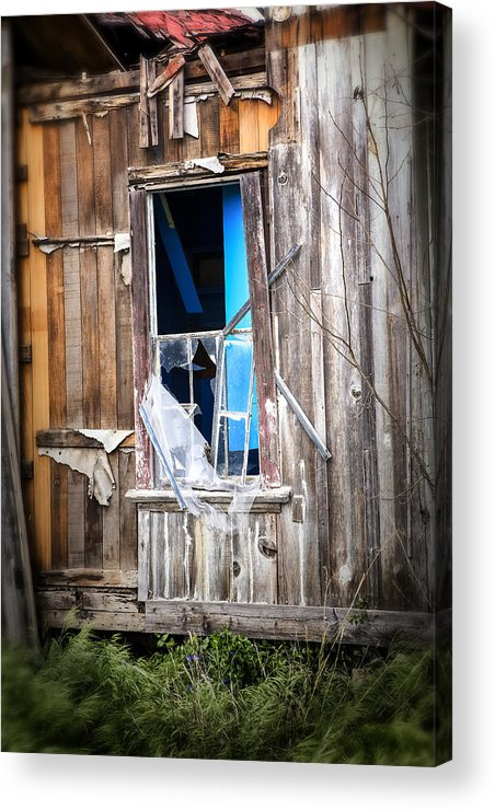Abandoned Acrylic Print featuring the photograph Red And White And Blue by Caitlyn Grasso