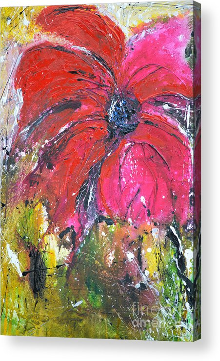 Lily Acrylic Print featuring the painting Red Flower - Abstract Painting by Ismeta Gruenwald
