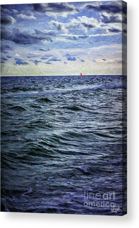 Red Acrylic Print featuring the painting Red Sail 2 by Walt Foegelle