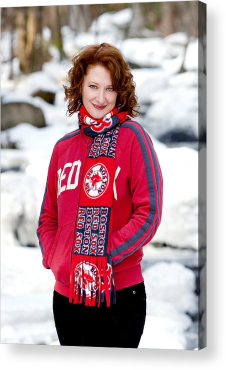 City Acrylic Print featuring the photograph Red Sox Girl by Greg Fortier