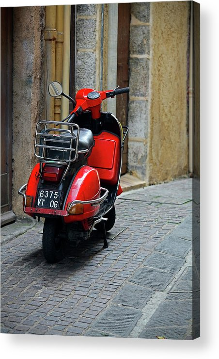 French Riviera Acrylic Print featuring the photograph Red Vespa Scooter Parked In Sidestreet by Tony Burns