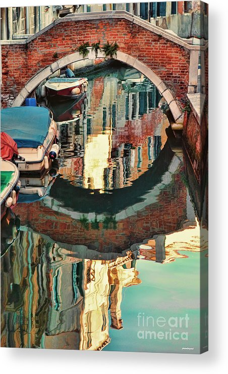 Water Reflection Photo Acrylic Print featuring the photograph Reflection-venice Italy by Tom Prendergast