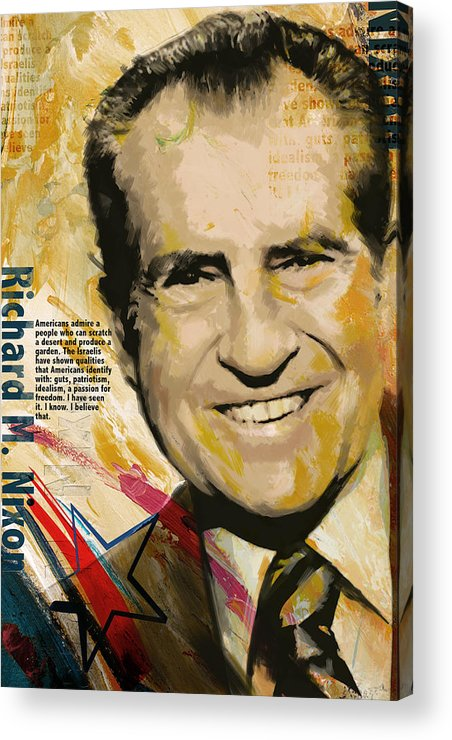 Richard Nixon Acrylic Print featuring the painting Richard Nixon by Corporate Art Task Force