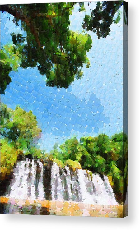 Ethiopia Acrylic Print featuring the painting River Waterfall Painting by George Fedin and Magomed Magomedagaev