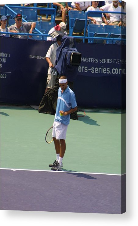 Roger Federer Acrylic Print featuring the photograph Roger Federer After 1st Slam by Rexford L Powell