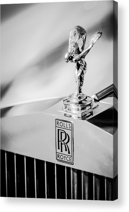 Rolls-royce Hood Ornament Acrylic Print featuring the photograph Rolls-royce Hood Ornament -782bw by Jill Reger