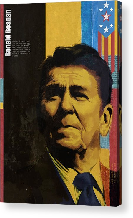 Ronald Reagan Acrylic Print featuring the painting Ronald Reagan by Corporate Art Task Force