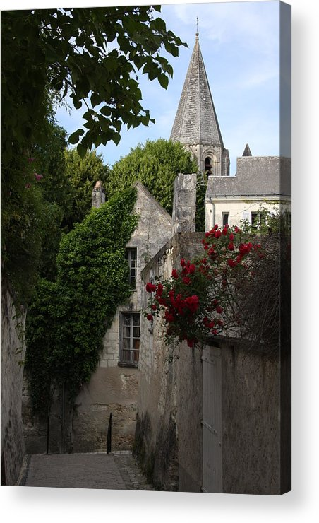 Narrow Street Acrylic Print featuring the photograph Rose Lane In Loches by Christiane Schulze Art And Photography
