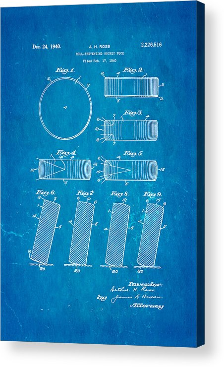 Famous Acrylic Print featuring the photograph Ross Ice Hockey Puck Patent Art 1940 Blueprint by Ian Monk