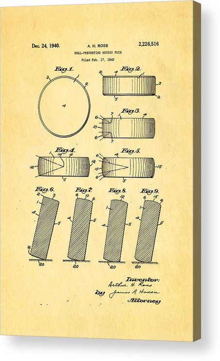 Famous Acrylic Print featuring the photograph Ross Ice Hockey Puck Patent Art 1940 by Ian Monk