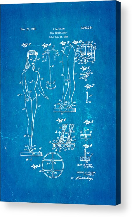 Crafts Acrylic Print featuring the photograph Ryan Barbie Doll Patent Art 1961 Blueprint by Ian Monk