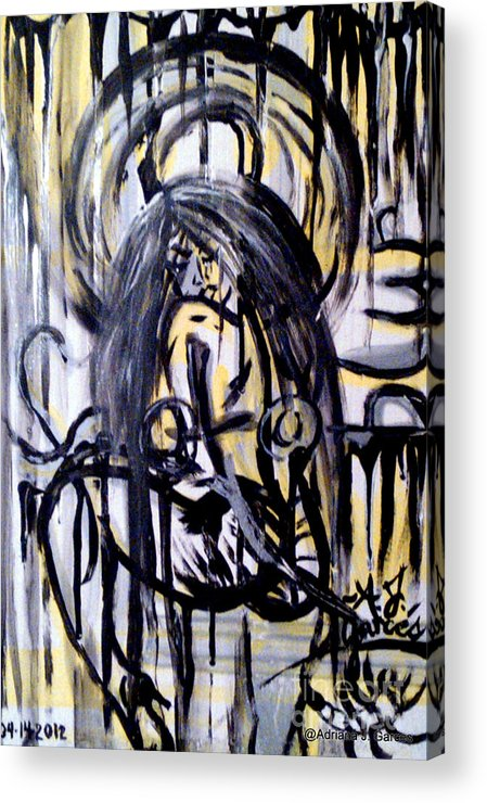 Figurative-abstract Acrylic Print featuring the painting Sarge-7 On Fotoblur by Adriana Garces