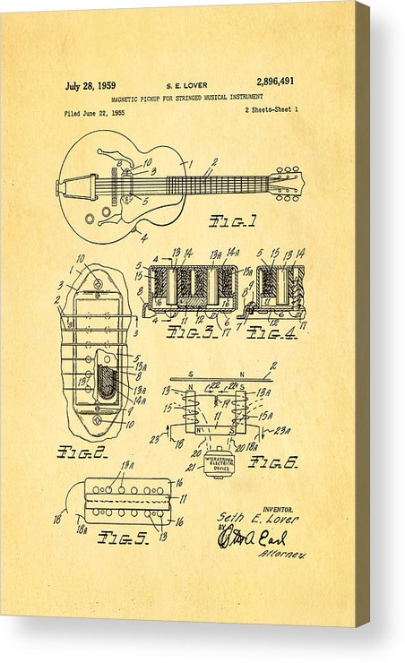 Famous Acrylic Print featuring the photograph Seth Lover Gibson Humbucker Pickup Patent Art 1959 by Ian Monk