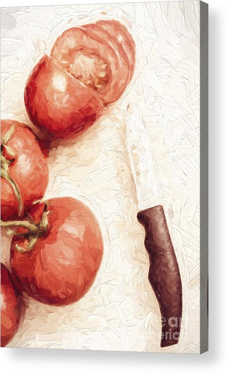 Knife Acrylic Print featuring the digital art Sliced Tomatoes. Vintage Cooking Artwork by Jorgo Photography - Wall Art Gallery