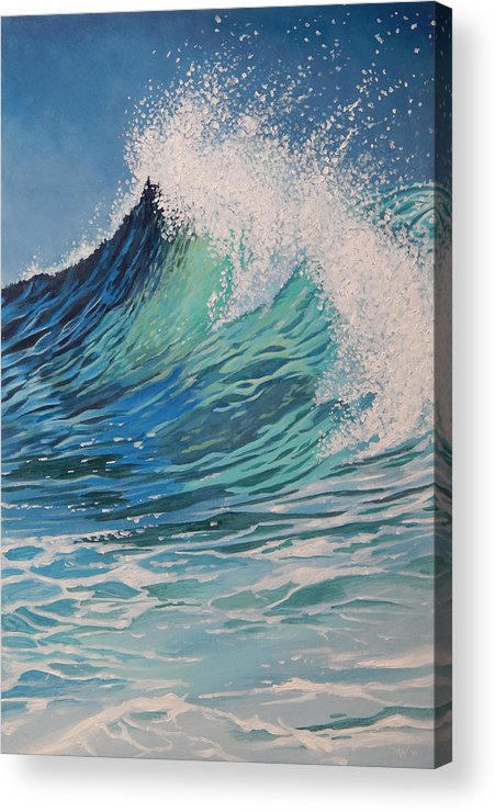 Wave Acrylic Print featuring the painting Sparkling Turquoise by Arie Van der Wijst