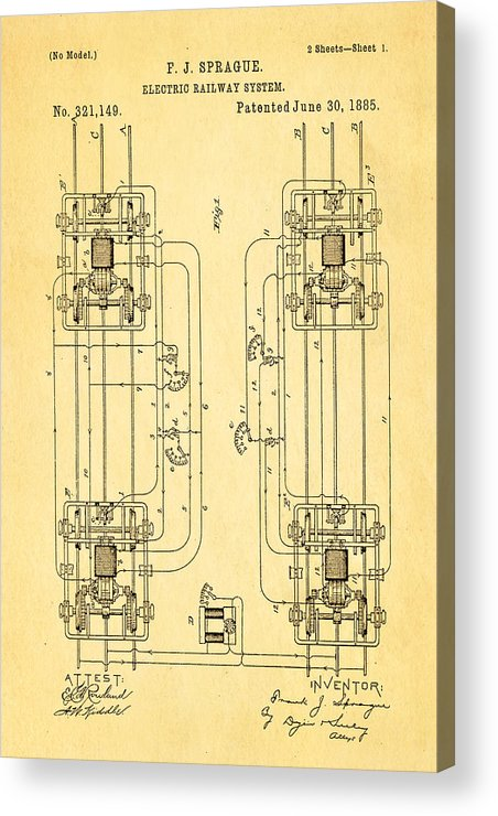 Engineer Acrylic Print featuring the photograph Sprague Electric Railway Patent Art 1885 by Ian Monk
