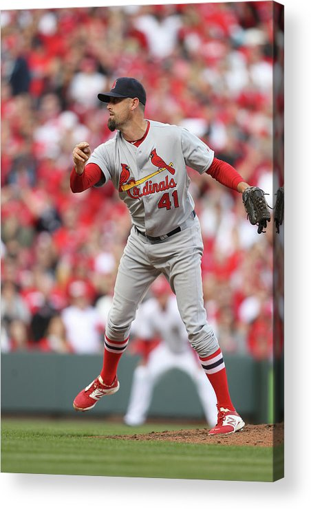 Great American Ball Park Acrylic Print featuring the photograph St. Louis Cardinals Vs. Cincinnati Reds by John Grieshop