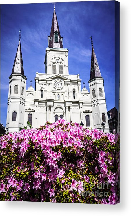 America Acrylic Print featuring the photograph St. Louis Cathedral And Flowers In New Orleans by Paul Velgos