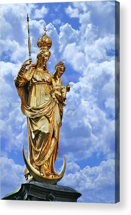 Marys Acrylic Print featuring the photograph St Mary's Column Marienplatz Munich by Christine Till