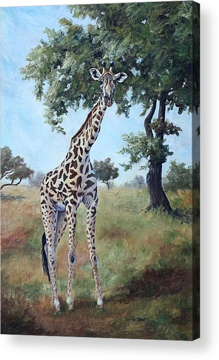 Giraffe Acrylic Print featuring the painting Standing Tall by Brenda Thour