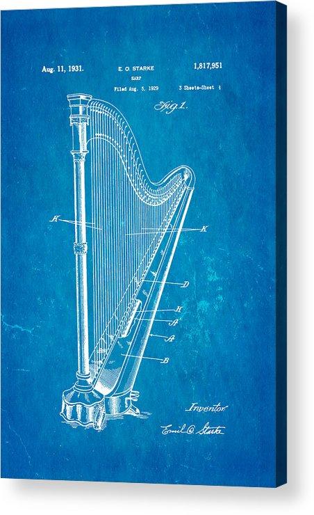 Famous Acrylic Print featuring the photograph Starke Harp Patent Art 1931 Blueprint by Ian Monk