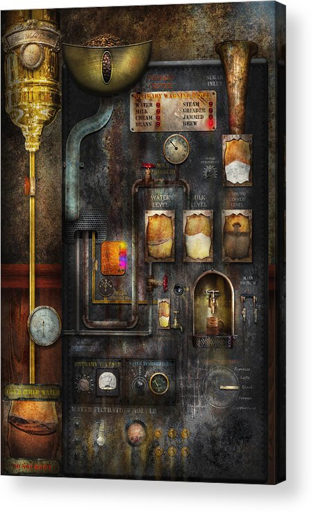 Steampunk Acrylic Print featuring the digital art Steampunk - All That For A Cup Of Coffee by Mike Savad