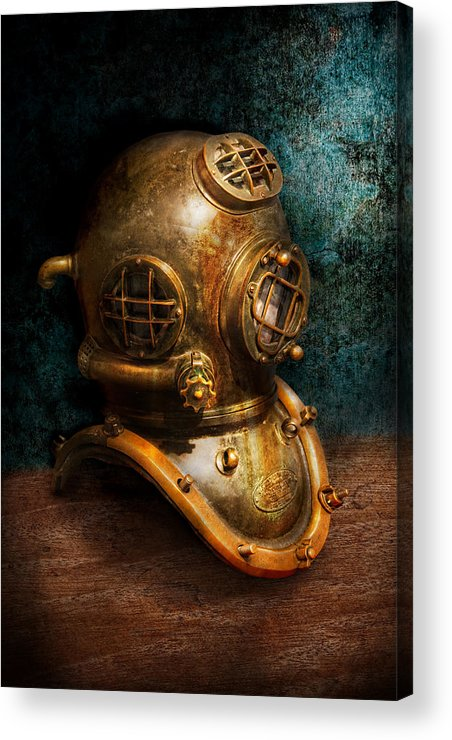 Hdr Acrylic Print featuring the photograph Steampunk - Diving - The Diving Helmet by Mike Savad