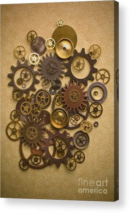 Gears Acrylic Print featuring the photograph Steampunk Gears by Diane Diederich
