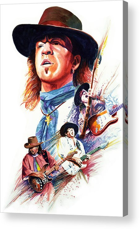 Guitarists Acrylic Print featuring the painting Stevie Ray Vaughn by Ken Meyer