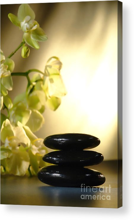 Orchid Acrylic Print featuring the photograph Stone Cairn And Orchids by Olivier Le Queinec