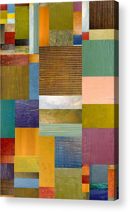 Textural Acrylic Print featuring the painting Strips And Pieces Lv by Michelle Calkins