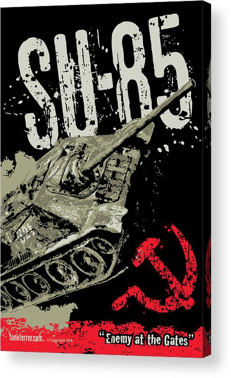 Armor Acrylic Print featuring the digital art Su-85 Russian Tank Destroyer by Philip Arena