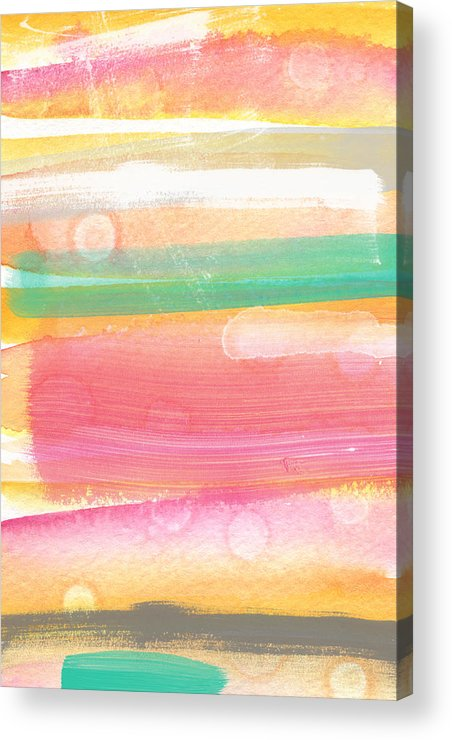 Abstract Painting Acrylic Print featuring the painting Sunday In The Park- Contemporary Abstract Painting by Linda Woods