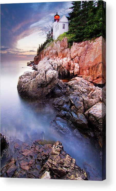 Landscape Acrylic Print featuring the photograph Sunset At Bass Harbor Lighthouse by Mircea Costina