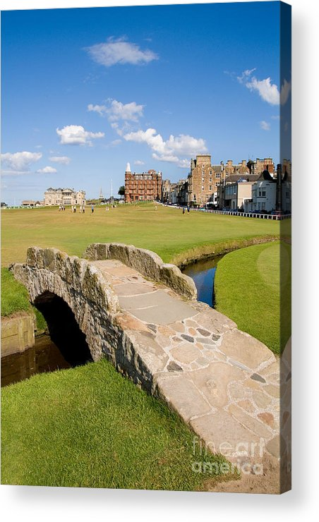 Golf Acrylic Print featuring the photograph Swilcan Bridge On The 18th Hole At St Andrews Old Golf Course Scotland by Unknown