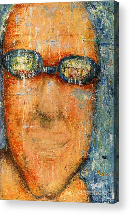 Goggle Acrylic Print featuring the painting Swimmer - 2012 by Nalidsa Sukprasert