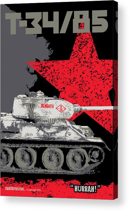 Armor Acrylic Print featuring the digital art T34/85 Russian Tank by Philip Arena