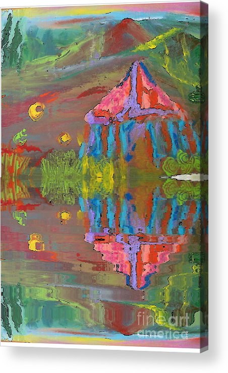Deborah Montana Acrylic Print featuring the painting Tent Reflections by Deborah Montana
