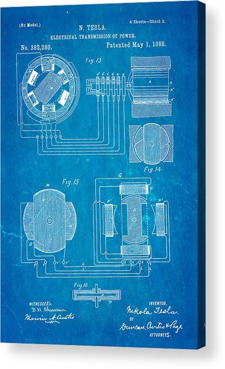 Tesla electrical transmission of power patent art 3 1888 blueprint electricity acrylic print featuring the photograph tesla electrical transmission of power patent art 3 1888 blueprint malvernweather Gallery