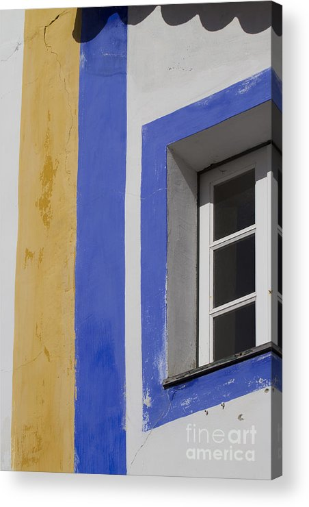 Architecture Acrylic Print featuring the photograph The Blue Framed Window by Heiko Koehrer-Wagner