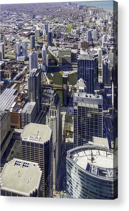 Photos Framed Prints Acrylic Print featuring the photograph The Chicago Skyline From Sears Tower-005 by David Allen Pierson