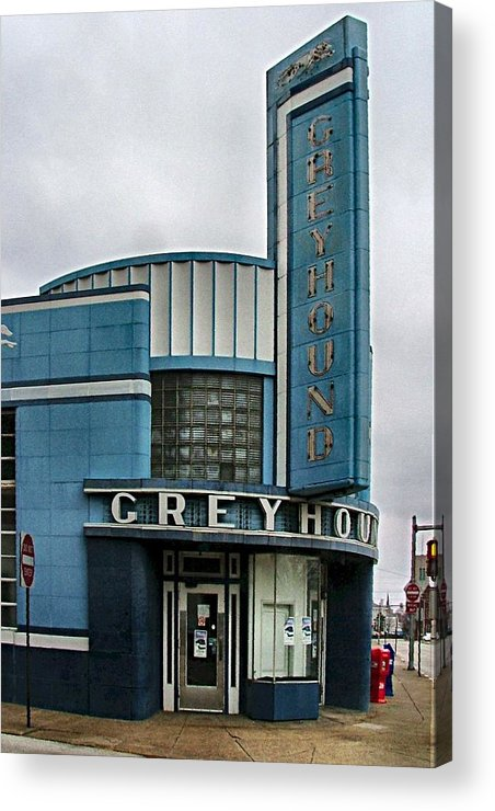 Old Bus Stations Acrylic Print featuring the photograph The Greyhound Bus Station by Julie Dant