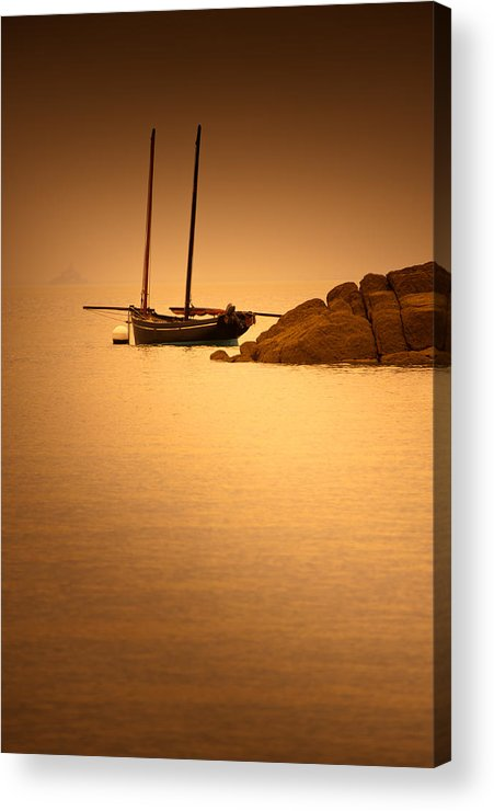 Loriental Acrylic Print featuring the photograph The Mont Saint-michel Bay At Sunset by Loriental Photography