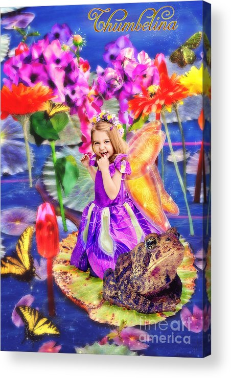 Thumbelina Beside Her Toad In Fairy Tale Pond Acrylic Print