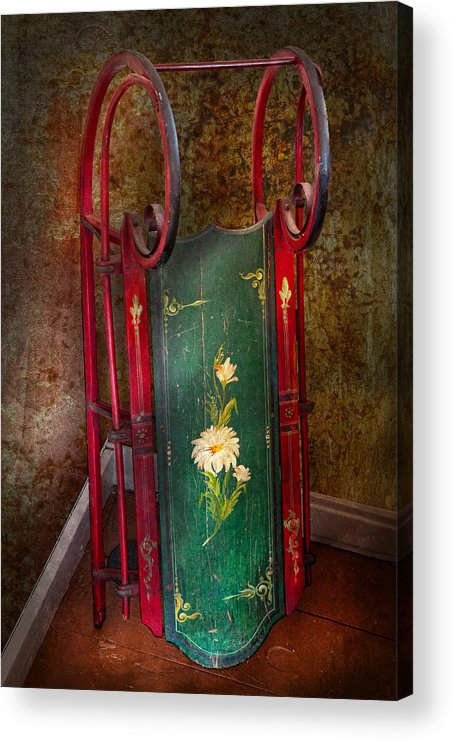 Children Acrylic Print featuring the photograph Toy - Sled - Fun Memories With My Sled by Mike Savad