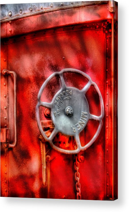 Savad Acrylic Print featuring the photograph Train - Car - The Wheel by Mike Savad