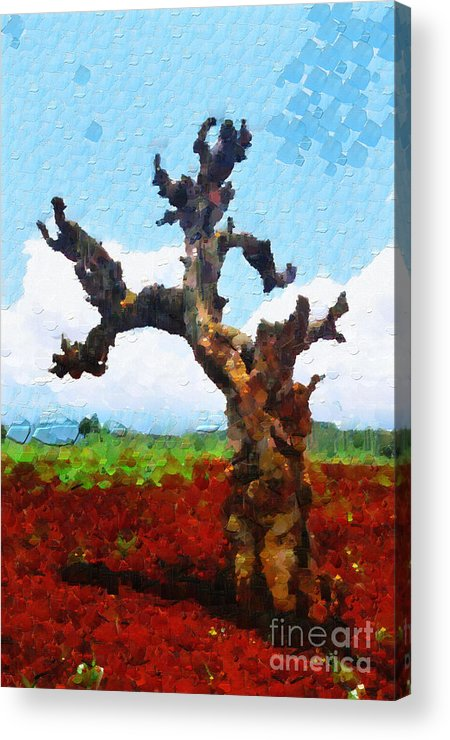 Ethiopia Acrylic Print featuring the painting Tree On Red Land Painting by George Fedin and Magomed Magomedagaev