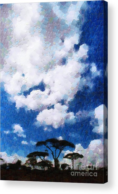 Ethiopia Acrylic Print featuring the painting Trees Under Blue Cloudy Sky Painting by George Fedin and Magomed Magomedagaev