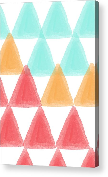 Triangles Acrylic Print featuring the painting Trifold- Colorful Abstract Pattern Painting by Linda Woods